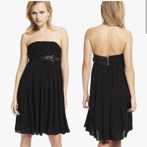 The Kooples Black Bustier Leather Strapless Dress